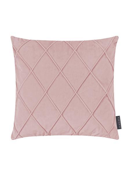 Poszewka na poduszkę z aksamitu Nobless, Aksamit poliestrowy, Brudny różowy, S 40 x D 40 cm