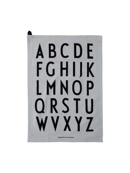 Geschirrtücher Classic in Grau mit Designletters, 2 Stück, Baumwolle, Grau, Schwarz, 40 x 60 cm