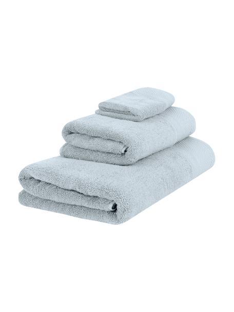 Set de toallas con cenefa clásica Premium, 3pzas., 100%algodón Gramaje superior 600g/m², Azul claro, Set de diferentes tamaños