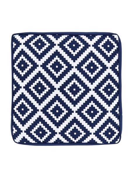 Hohes Sitzkissen Miami in Dunkelblau/Weiss, Bezug: 100% Baumwolle, Blau, 40 x 40 cm
