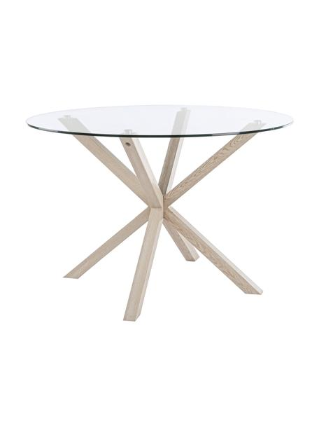 Tavolo con piano in vetro May, Piano d'appoggio: vetro, temperato, Gambe: metallo, sventato con imi, Trasparente, legno di quercia, Ø 114 x Alt. 76 cm