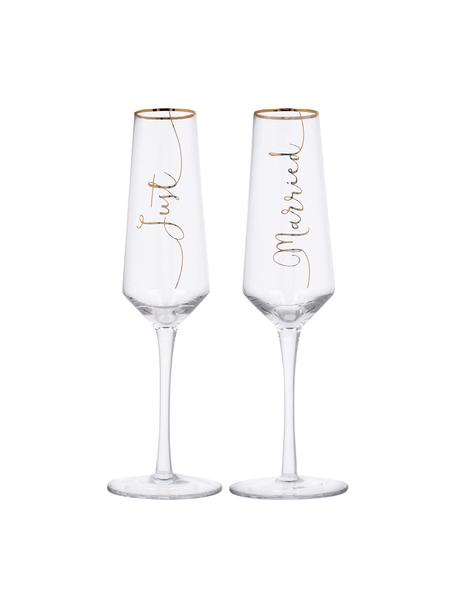 Sektgläser Just Married mit goldener Aufschrift, 2er-Set, Glas, Transparent, Goldfarben, Ø 6 x H 26 cm