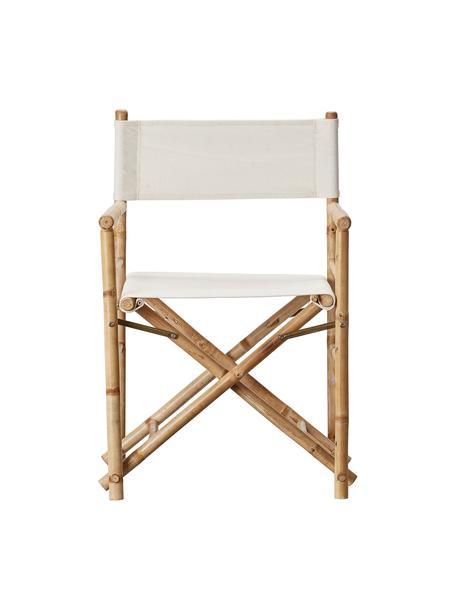 Składany fotel reżysera z drewna bambusowego Mandisa, Stelaż: drewno bambusowe, natural, Drewno bambusowe, jasny len, S 58 x W 88 cm