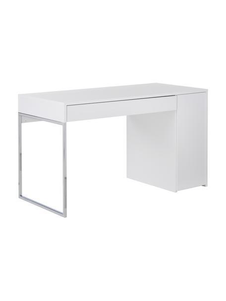 Schreibtisch Tiago in Weiss, Oberfläche: Echtholzfurnier, Korpus: Holzfaserplatte, Spanholz, Weiss, matt Beine: Metall, verchromt, B 130 x T 60 cm