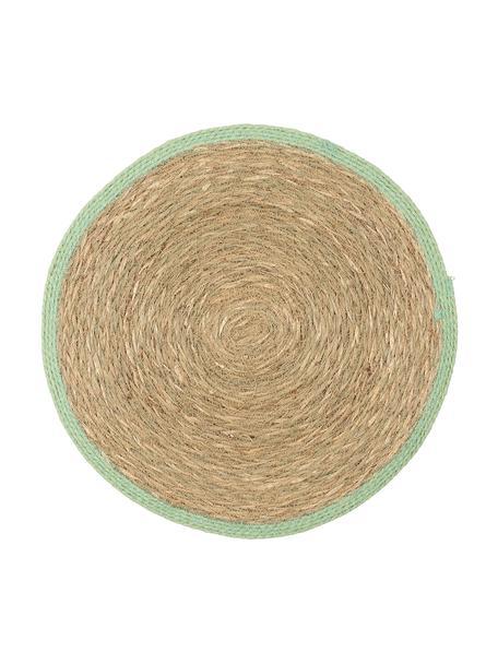 Manteles individuales redondos de seegras Boho, 2uds., Algas marinas, Beige, verde, Ø 35 cm