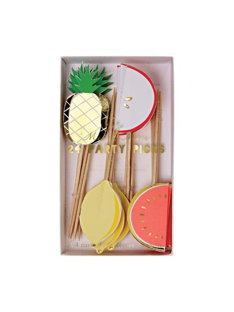 Set spiedini per feste Fruit Party, 24 pz., Carta, legno, Multicolore, Lung. 11 x Larg. 2 cm