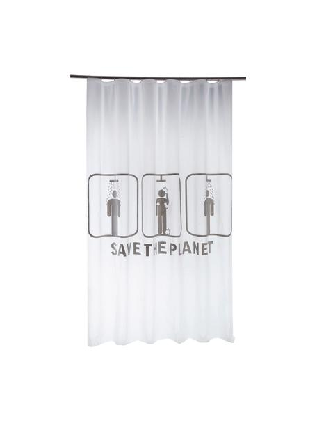 Cortina de baño Save the Planet, Blanco, gris, An 180 x L 200 cm