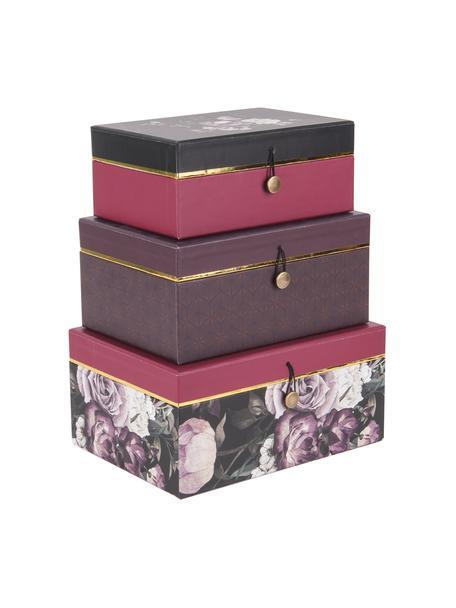 Set 3 scatole Flowers, Carta, Lilla, rosa, Set in varie misure