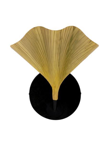Wandlamp Ginkgo met marmeren bevestiging, Lampenkap: aluminium, gelakt, Goudkleurig, zwart, 30 x 33 cm