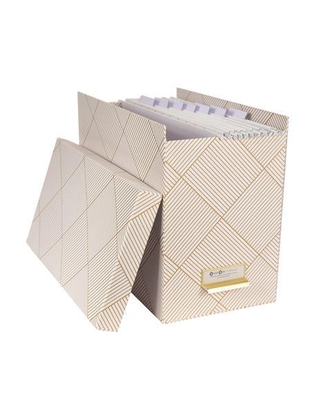Hängeregister-Box Johan, 9-tlg., Organizer: Fester, laminierter Karto, Goldfarben, Weiß, 19 x 27 cm