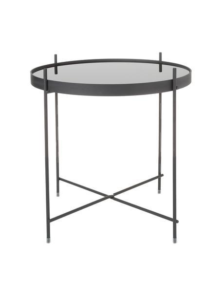 Tablett-Tisch Cupid mit Glasplatte, Gestell: Eisen, pulverbeschichtet, Tischplatte: Schwarzglas, Schwarz, Ø 43 x H 45 cm