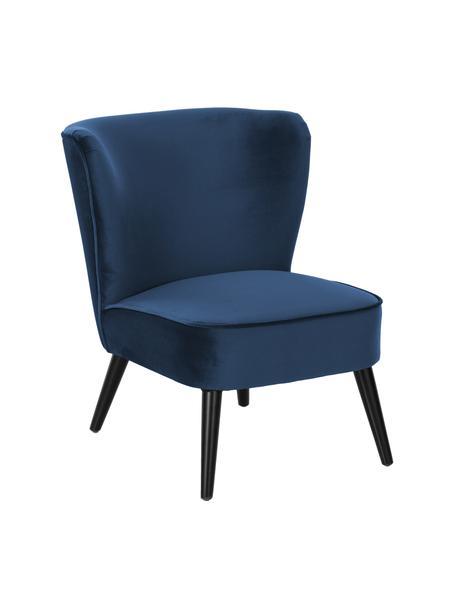 Fluwelen fauteuil Robine, Bekleding: fluweel (polyester), Poten: gelakt grenenhout, Fluweel donkerblauw, B 63 x D 73 cm