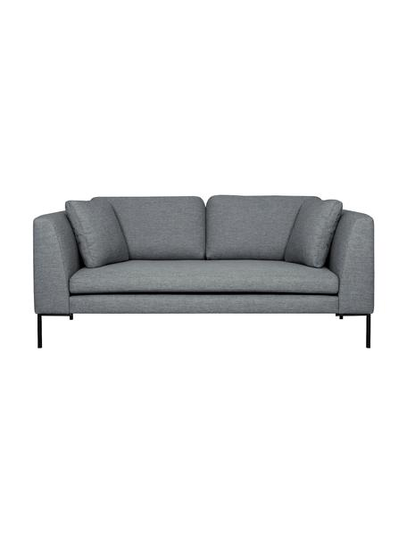 Sofa Emma (2-Sitzer) in Grau mit Metall-Füßen, Bezug: Polyester 100.000 Scheuer, Gestell: Massives Kiefernholz, Füße: Metall, pulverbeschichtet, Webstoff Grau, Füße Schwarz, B 194 x T 100 cm