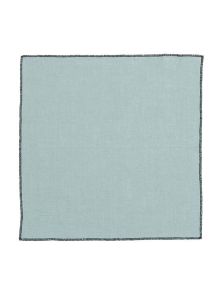 Leinen-Servietten Letia, 2 Stück, Leinen, Blaugrün, Schwarz, 41 x 41 cm
