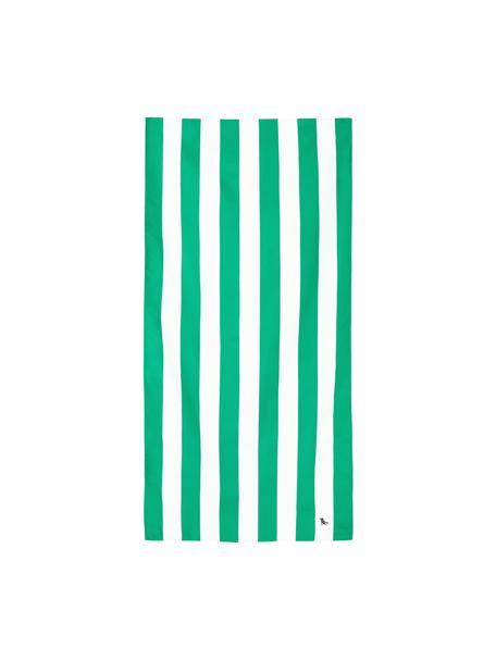 Telo mare in microfibra Cabana, asciugatura rapida, Microfibra (80% poliestere, 20% poliammide), Verde, bianco, Larg. 90 x Lung. 200 cm