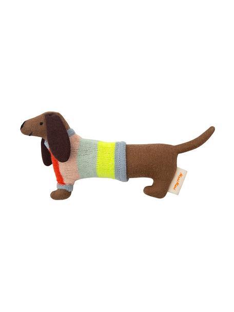 Sonajero de algodón ecológico Sausage Dog, Algodón orgánico, Marrón, multicolor, An 19 x Al 8 cm