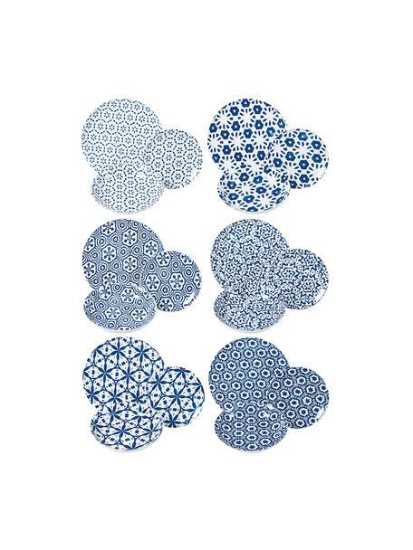 Gemustertes Geschirr-Set Bodrum in Blau/Weiss, 6 Personen (18-tlg.), Porzellan, Blau, Weiss, Set mit verschiedenen Grössen