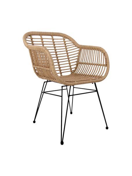 Sedia con braccioli Costa 2 pz, Seduta: intreccio polietilene, Struttura: metallo verniciato a polv, Marrone chiaro, gambe nero, Larg. 59 x Prof. 58 cm