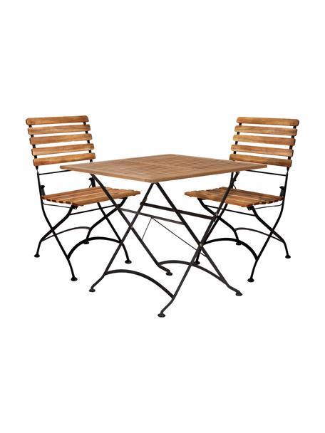 Balkon-Set Parklife, 3-tlg., klappbar, Gestell: Metall, verzinkt und pulv, Schwarz, Akazienholz, Set mit verschiedenen Grössen