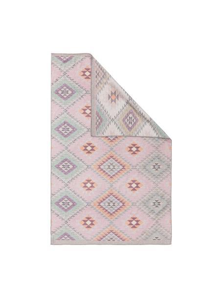 Dwustronny kilim etno Ana, 80% poliester 20% bawełna, Blady różowy, wielobarwny, S 150 x D 230 cm