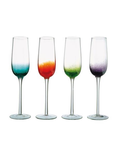 Mundgeblasene Sektgläser Fizz in verschiedenen Farben, 4er-Set, Glas, mundgeblasen, Transparent, Mehrfarbig, 250 ml