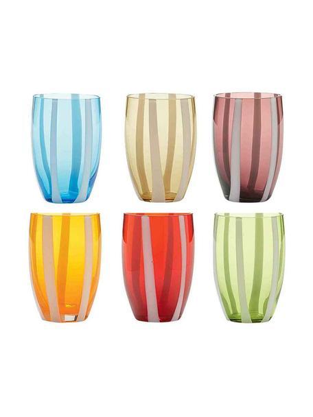 Mundgeblasene Wassergläser Gessato in Bunt, 6er-Set, Glas, Weiss, Aqua, Bernsteinfarben, Pastellviolett, Orange, Rot, Grün, Ø 7 x H 11 cm