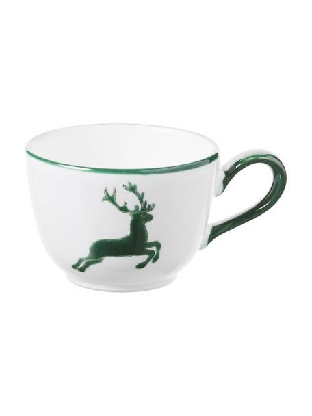 Handbeschilderde koffiekopje Classic Green Deer, Keramiek, Groen, wit, 190 ml