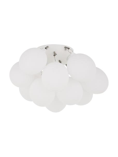 Kleine Glaskugel Deckenleuchte Gross, Weiß, Chrom, Ø 30 x H 20 cm