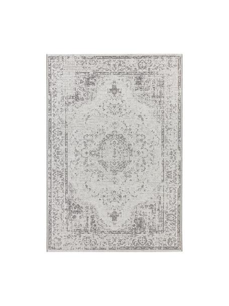 Tappeto vintage da interno-esterno Cenon, Polipropilene, Crema, grigio, Larg. 80 x Lung. 150 cm (taglia XS)