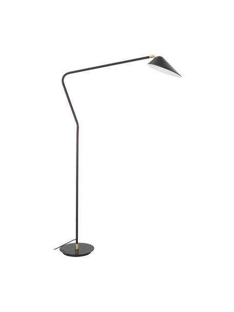 Grote leeslamp Neron van metaal, Lampenkap: gepoedercoat metaal, Lampvoet: gepoedercoat metaal, Decoratie: vermessingd metaal, Zwart, D 105 x H 171 cm