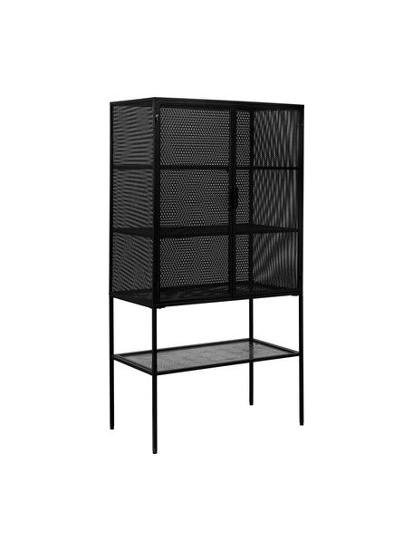 Metall-Highboard Wire in Schwarz, Metall, pulverbeschichtet, Schwarz, 90 x 167 cm
