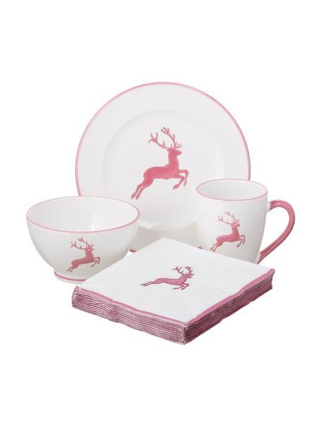 Handbemaltes Frühstücks-Set Rosa Gourmet Hirsch, 4-tlg., Keramik, Rosa, Weiß, Sondergrößen