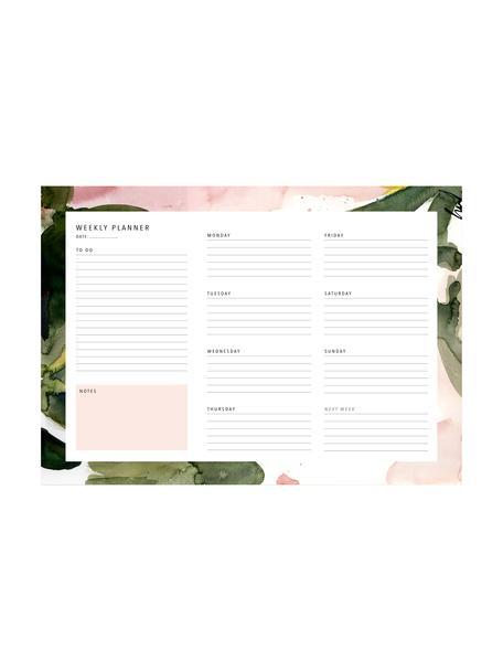 Planer tygodniowy Floral Colours, Papier, Blady różowy, zielony, biały, S 30 x W 21 cm