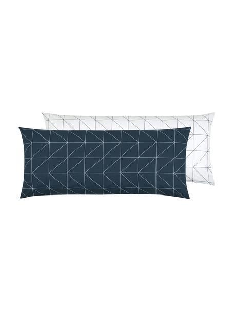 Funda de almohada de tejido renforcé Marla, caras distintas, Azul marino, blanco crema, An 45 x L 110 cm