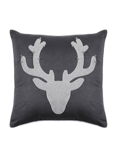 Poszewka na poduszkę z dzwoneczkami Bell's, 55% len, 45% bawełna, Antracytowy, jasny szary, S 45 x D 45 cm