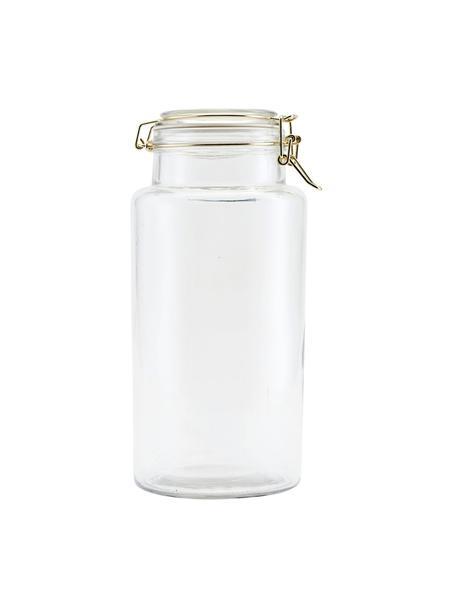 Aufbewahrungsdose Vario mit goldenen Applikationen, Dose: Glas, Verschluss: Edelstahl, beschichtet, Transparent, Messingfarben, Ø 13 x H 28 cm