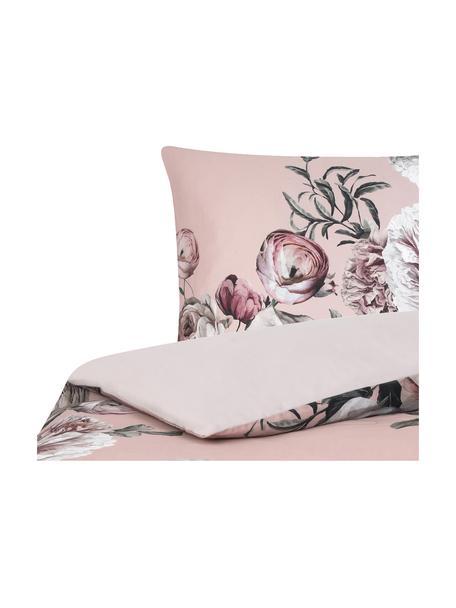 Parure copripiumino in raso di cotone Blossom, Rosa, 155 x 200 cm + 1 cuscino 50 x 80 cm