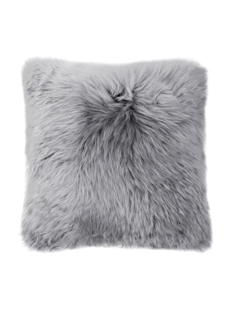 Federa arredo in pelliccia di pecora grigio scuro Oslo, Retro: lino, Fronte: grigio chiaro Retro: grigio chiaro, Larg. 40 x Lung. 40 cm
