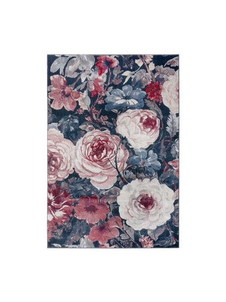 Teppich Peony mit Blumenmuster, 100% Polypropylen, Blau, Cremefarben, Rot, B 80 x L 150 cm (Größe XS)