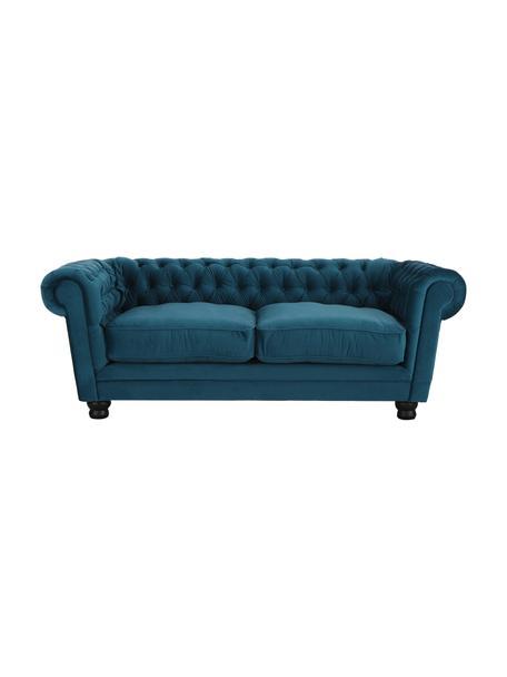 Chesterfield Samt-Sofa Sally (3-Sitzer) in Petrol, Bezug: 100% Polyester, Beine: Massivholz; Buche, lackie, Rahmen: Holzgrundgestell, Samt Petrol, 203 x 79 cm