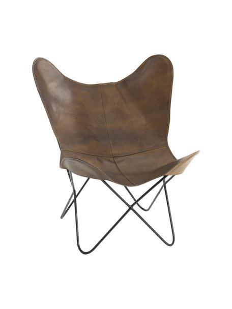 Fotel wypoczynkowy ze skóry Butterfly, Tapicerka: skóra, Stelaż: metal lakierowany, Brązowy, S 56 x G 84 cm