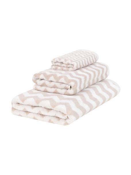 Set de toallas Liv, 3pzas., Color arena, blanco crema, Set de diferentes tamaños