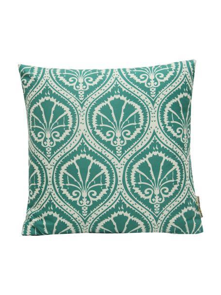 Gemusterte Kissenhülle Sophie, 100% Polyester, Weiß, Grün, 40 x 40 cm