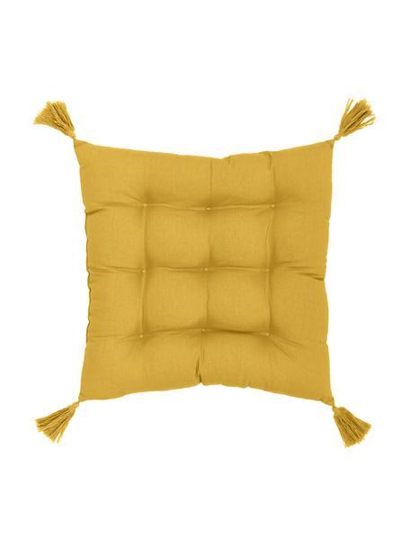 Stoelkussen Ava in geel met kwastjes, Bekleding: 100% katoen, Geel, 40 x 40 cm