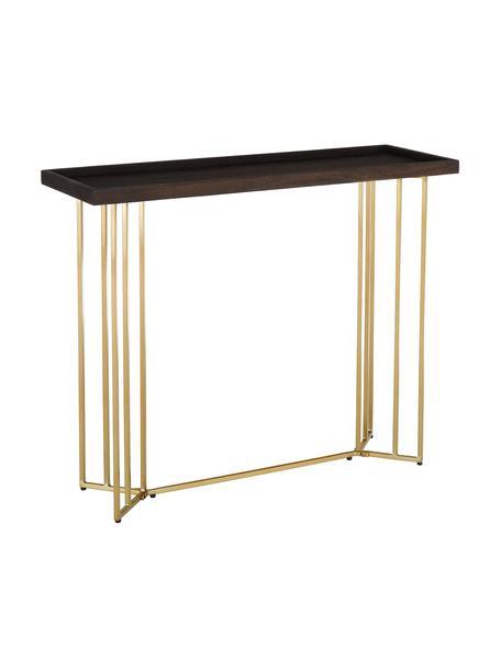 Consolle con piano in legno massiccio Luca, Struttura: metallo rivestito, Marrone scuro, Larg. 100 x Prof. 35 cm