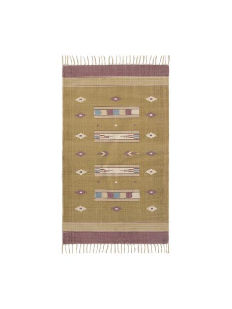 Teppich Kamel im Ethno Style, 100% Baumwolle, Senfgelb, Beige, Lila, Blau, B 150 x L 200 cm (Grösse S)