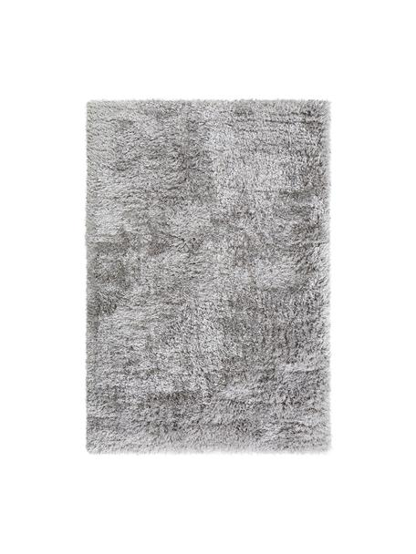 Glanzend hoogpolig vloerkleed Lea in lichtgrijs, Bovenzijde: 50% polyester, 50% polypr, Onderzijde: 100% jute, Grijs, B 140 x L 200 cm (maat S)