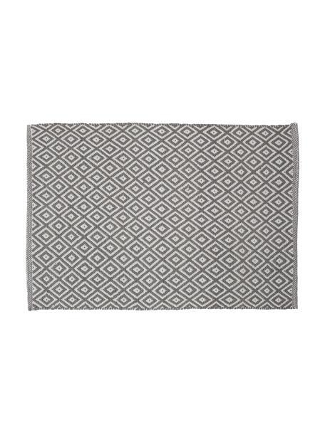Badvorleger Erin im Boho Style, Grau/Weiss, 100% Baumwolle, Grau, Weiss, 60 x 90 cm