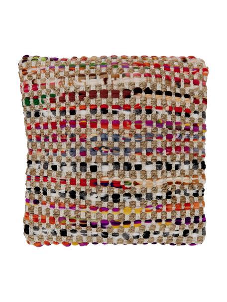 Bunte Kissenhülle Cando aus Jute-Mix, Vorderseite: 60% synthetische Fasern, , Rückseite: Baumwolle, Jute, Mehrfarbig, 45 x 45 cm