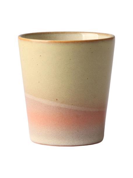 Handgemachte Becher 70's im Retro Style, 4 Stück, Steingut, Gelb, Cremefarben, Rosa, Ø 8 x H 8 cm